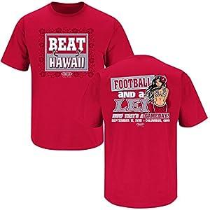 Ohio State Buckeyes Fans. Beat Hawaii Scarlet T Shirt (Sm-5x)