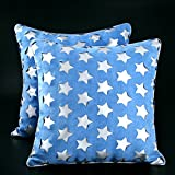 Decorative Throw Pillow Case Cushion Covers 18 x 18, Set of 2, PU Navy Star