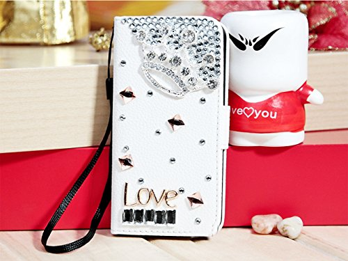 Mylife (Tm) Cotton White Diamond Love Design - Textured Koskin Faux Leather (Card And Id Holder + Magnetic Detachable Closing) Slim Wallet For Iphone 5/5S (5G) 5Th Generation Itouch Smartphone By Apple (External Rugged Synthetic Leather With Magnetic Clip