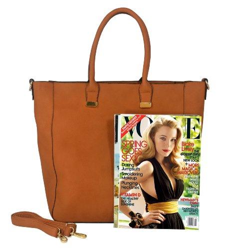 PENELOPE Brown 2 in 1 Classic Elegant Bucket Tote Shopping Satchel Top Double Handle Shoulder Daybag Weekender Purse Hobo Handbag Bag