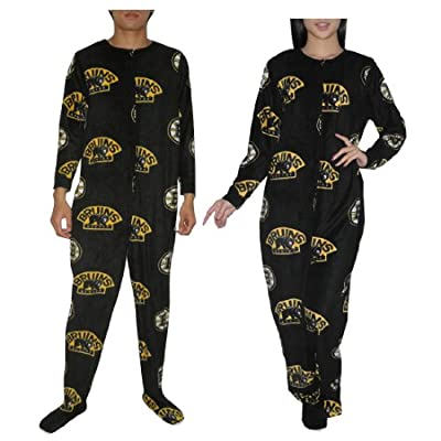 NHL Boston Bruins Adult Polar Fleece One-Piece Footed Pajamas / Romper