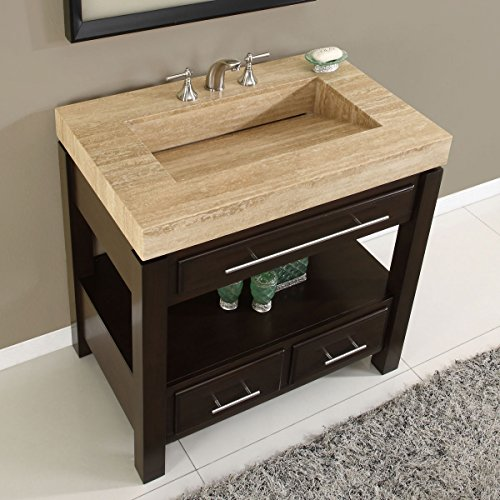 Silkroad Exclusive Dark Walnut Stone Top Single Sink Bathroom Vanity With Cab