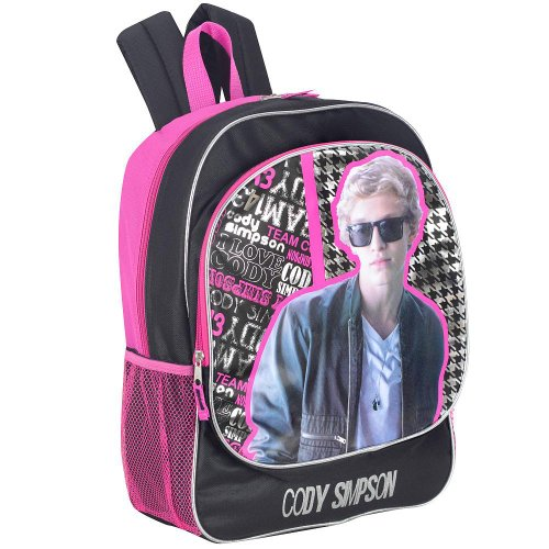 Cody Simpson 16 inch I Love Cody Backpack - Black and Pink - 1