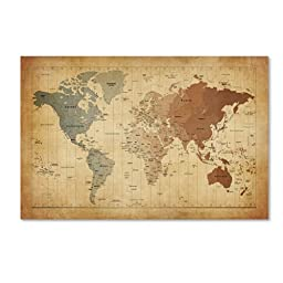 Trademark Fine Art Time Zones Map of The World Artwork by Michael Tompsett, 16 by 24-Inch