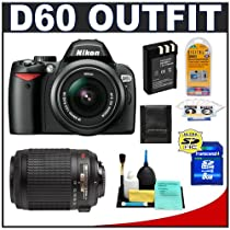 Nikon D60 Digital SLR Camera with 18-55mm VR & Nikon 55-200mm AF-S VR Zoom Lens + 8GB Card + EN-EL9 Battery + Accessory Kit (Camera and Lenses Refurbished by Nikon U.S.A.)