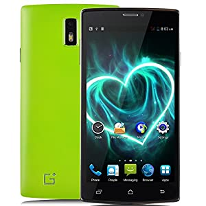 Jiake G6 Unlocked 5.5 Inch Android 4.2.2 3G Smartphone Phablet 1.2 G HZ Dual Core MTK6572 Dual SIM Dual Standby GPS Cellphone WIFI WAP Bluetooth Google APPs (Green)