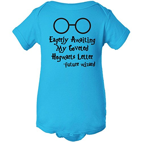 Inktastic Unisex Baby Eagerly Awaiting Coveted Hogwarts Letter Infant Creeper 6 Months Turquoise front-776999