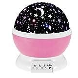 Esonstyle New Generation 360 Degree Romantic Sky Star Night Light Lamp Room Rotating Night Lamp Christmas Gift Children Gift lovers Gift for Baby Nursery Bedroom Children Kids Room (pink)