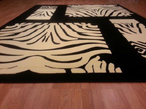 E509 Contemporary Modern Transitional Zebra Black White 5x8 Actual Size 5'3x7'2 Rug