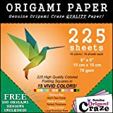 Origami Paper Exclusive - 6 Inch Square Sheets - 225 Sheet Pack - 15 Vibrant Colors - 100 Designs Included - Perfect Size. Create Incredible Designs With Plenty of Paper for More! Satisfaction Guaranteed!