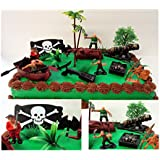"""Ahoy, Matey PIRATES 15 Piece Cake Topper Set Featuring 5 Random Figures, Boat, Cannon, Themed Decorative Accessories, Figures Average 2"""" Tall"""