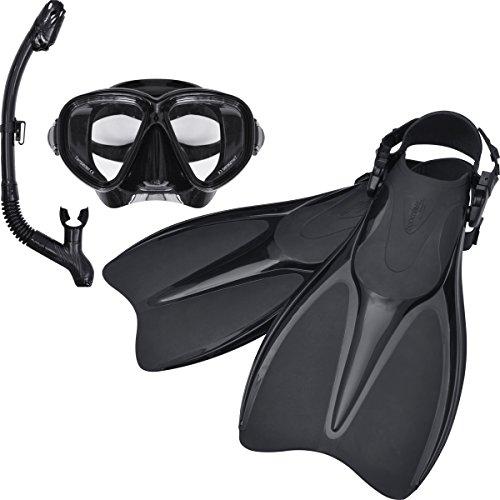 FIELDOOR ダイビングマスク・ドライスノーケル・ストラップフィン 3点セット ブラック (Lサイズ/男女兼用、強化ガラス、シリコン採用)