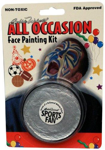 Bobbie Weiner Sports Fan Face Paint Cream Wheel, Metallic Silver, 1.2-Ounce