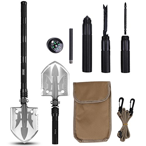 AcTopp Compact Military Folding Shovel Kit, Detachable Survival Folding Shovel with Knife Fire Starter Compass Screwdriver for Emergency Outdoor Camping