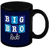 Mug For Brother - HomeSoGood Big Brother Always Rocks Black Ceramic Coffee Mug - 325 Ml