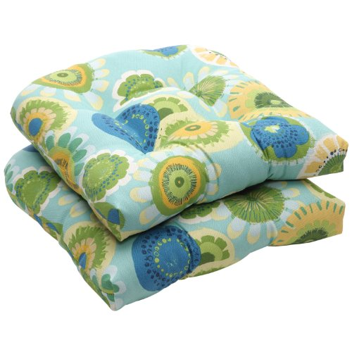 Pillow Perfect Indoor/Outdoor Blue/Green Floral Wicker Seat Cushions, 2-Pack