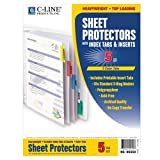 Poly Sheet Protectors with Index Tabs, Assorted Color Tabs, 11 x 8 1/2, 5/ST