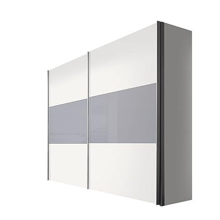 Solutions 45900-324 Schwebeturenschrank 2-turig, Griffleisten Alufarben, Korpus/Front: Polarweiß / Grauglas