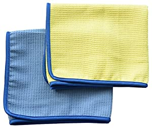 Microfiber Waffle Weave Car Cleaning Cloths Car Detailing Drying Towels 16 Inch X 27 Inch (Pack of 2)