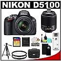 Nikon D5100 16.2 MP Digital SLR Camera & 18-55mm G VR DX AF-S Zoom Lens with 55-200mm Lens + 32GB Card + Case + (2) Filters + Remote + Tripod + Cleaning Kit