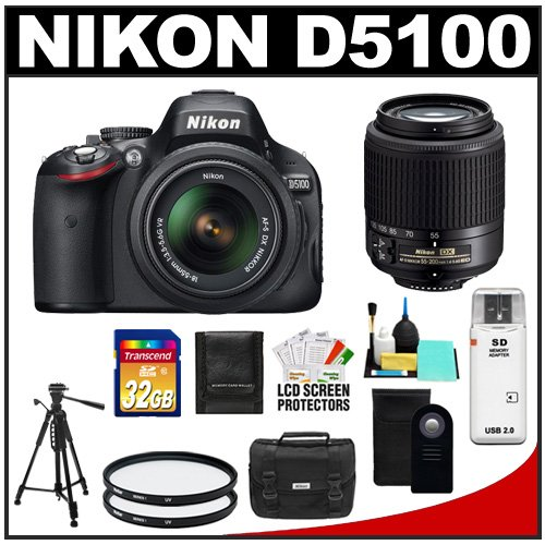 Nikon D5100 16.2 MP Digital SLR Camera & 18-55mm G VR DX AF-S Zoom Lens with 55-200mm Lens + 32GB Card + Case + (2) Filters + Remote + Tripod + Cleaning Kit