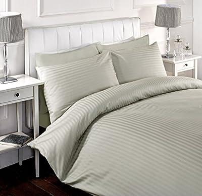 White Satin Stripe Duvet Cover & PillowCase Bed Set