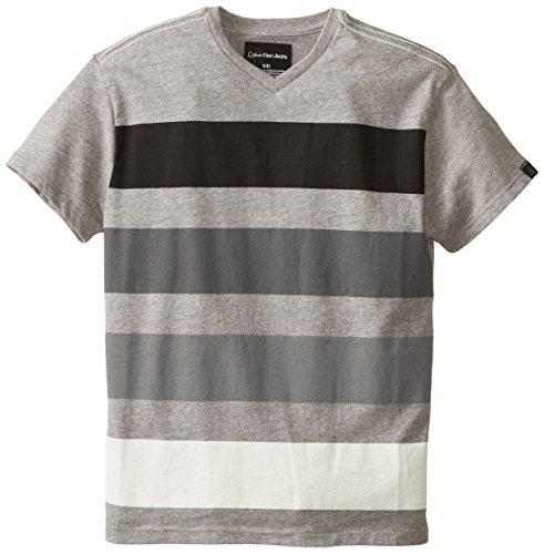 Calvin Klein Big Boys' Ck Striped Short Sleeve V Neck, Grey Heather, Small front-1011548