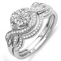 0.40 Carat (ctw) 14k White Gold Round Diamond Ladies Bridal Ring Engagement Matching Band Set