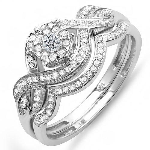 Get 0 40 Carat ctw 14k White Gold Round Diamond La s Bridal Ring Engageme