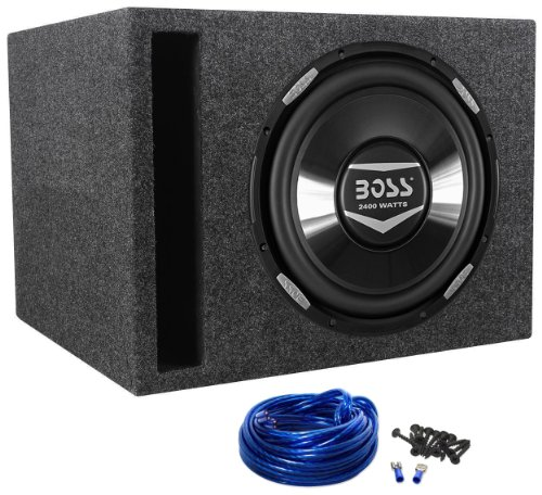 "Package: Boss Audio Armor Ar12D 12"" Dual 4-Ohm + Rockville Rsv12 Single 12"" Vented Subwoofer Enclosure + Sub Box Wire Kit With 14 Gauge Speaker Wire + Screws + Spade Terminals"