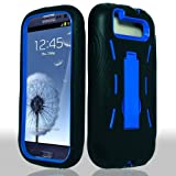 Samsung? Galaxy S 3 III / S3 / i9300 i-9300 Hybrid Armor Blue Hard Case and Black Silicone Skin Dual Combo 2-in-1 with Kickstand / Kick Stand Snap-On Protective Cover Cell Phone
