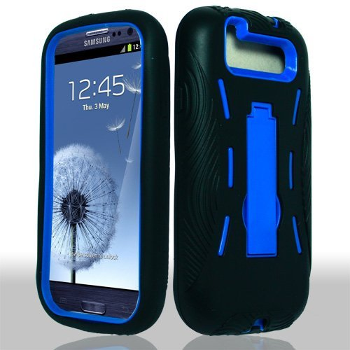 Samsung Galaxy S 3 III / S3 / i9300 i-9300 Hybrid Armor Blue Hard Case and Black Silicone Skin