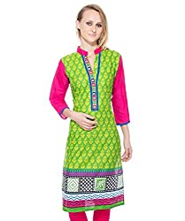 Clickedia Women's Cotton A line long Kurta with collar neck- 100% Cotton- L