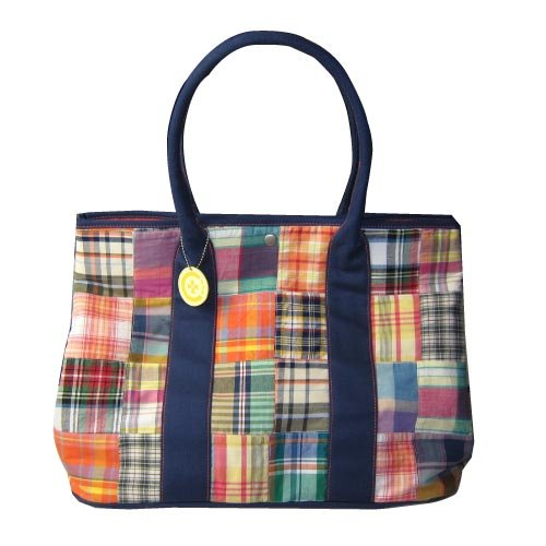C-Red Preppy Madras Large Carry All Tote, Orange
