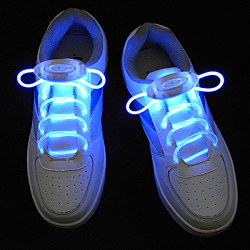 LEORX Luce LED lacci delle scarpe lacci per le scarpe con 3 modalità impermeabile lavabile - una coppia (luce blu)