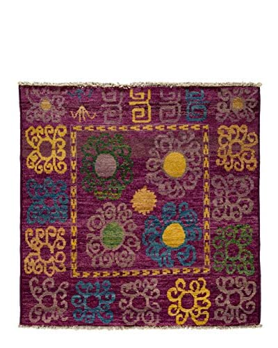 Solo Rugs One-of-a-Kind Tribal Rug, Purple, 5' Square