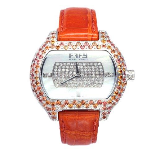 Effy So-Ho Diamond/Orange Sapphire 5.10 Tcw. Mother-of-Pearl Dial Ladies Watch #Z00Z196D00