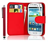New Leather Wallet Flip Case Cover Pouch for Samsung Galaxy S4 Mini GT-i9190 GT-i9192 GT-i9195 Mini WITH FREE SCREEN GUARD + STYLUS PEN (Red)