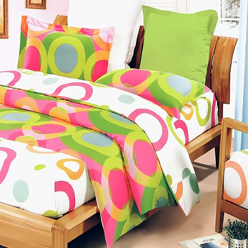 Blancho Bedding - [Rhythm of Colors] 100% Cotton 3PC Mini Comforter Cover/Duvet Cover Set (Queen Size)