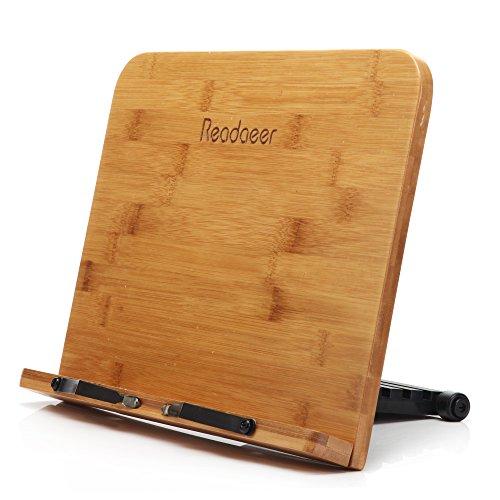 Readaeer® ブックスタンド 筆記台 書見台 本立て 6段階調整 竹製
