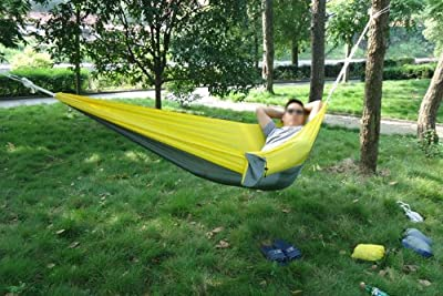Enjoydeal Portable Parachute Nylon Fabric Travel Camping Hammock For Double Two Person (Yellow&Grey)