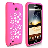 Pink And White Floral Silicone Case Cover For The Samsung Galaxy Noteby Yousave