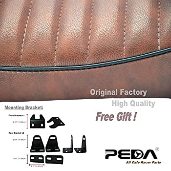 PEDA New Brown Cafe Racer Retro Locomotive Refit Motorcycle Seat Leather Waterproof Hump Seats with black Piping