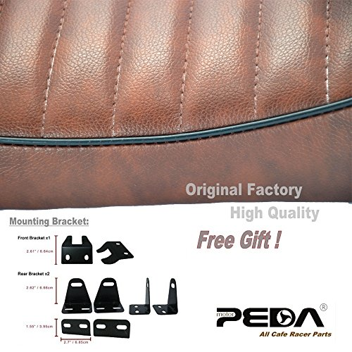 PEDA New Brown Cafe Racer Retro Locomotive Refit Motorcycle Seat Leather Waterproof Hump Seats with black Piping 2