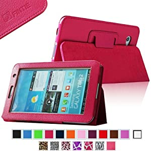Fintie Slim Fit Folio Case Cover for Samsung Galaxy Tab 7.0 Plus / Samsung Galaxy Tab 2 7.0 Tablet - Magenta