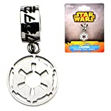 Official Stainless Steel Galactic Empire Logo Symbol Dangle Bracelet Charm