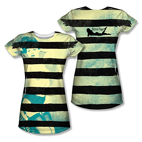 Bettie Page Black Stripes Junior Fit All Over Front/Back T-Shirt PAG658FB