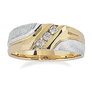 Men's 10k Two-Tone Gold Polished and Brushed Finish with Diamond-Accent Ring (0.15 cttw, H-I Color, I1-I2 Clarity), Size 11