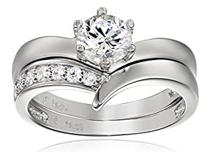 Platinum Plated Sterling Silver Cubic Zirconia Round Solitaire Ring with Chevron Band Bridal Set, Size 6