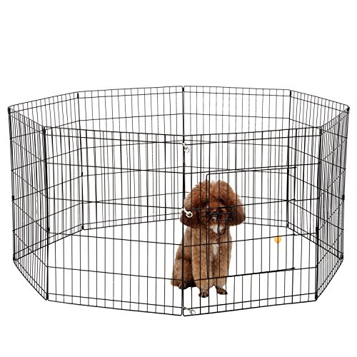 Ollieroo dog playpen exercise pen cat fence pet outdoor for Dog exercise pen with door